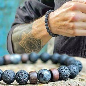 Men's 8MM Matte Lava Stone Prayer Bead Bracelet🔥